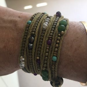 Colorful beaded wrap bracelet from Thailand